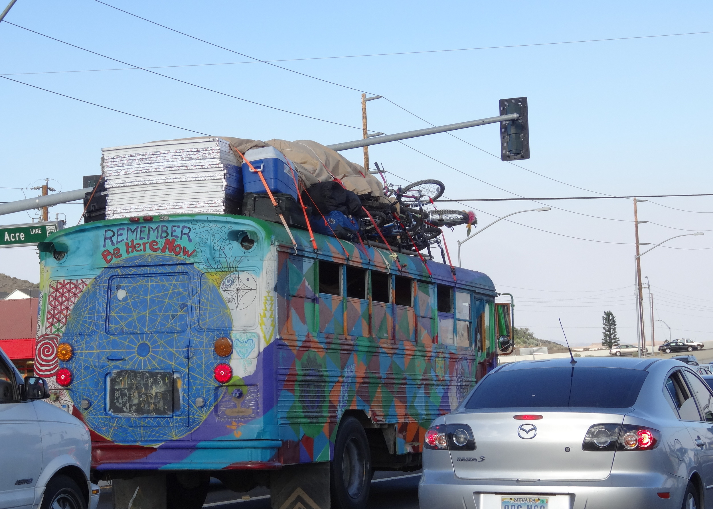 One of the more-festive vehicles en-route to Burning Man in the days leading up to the event.