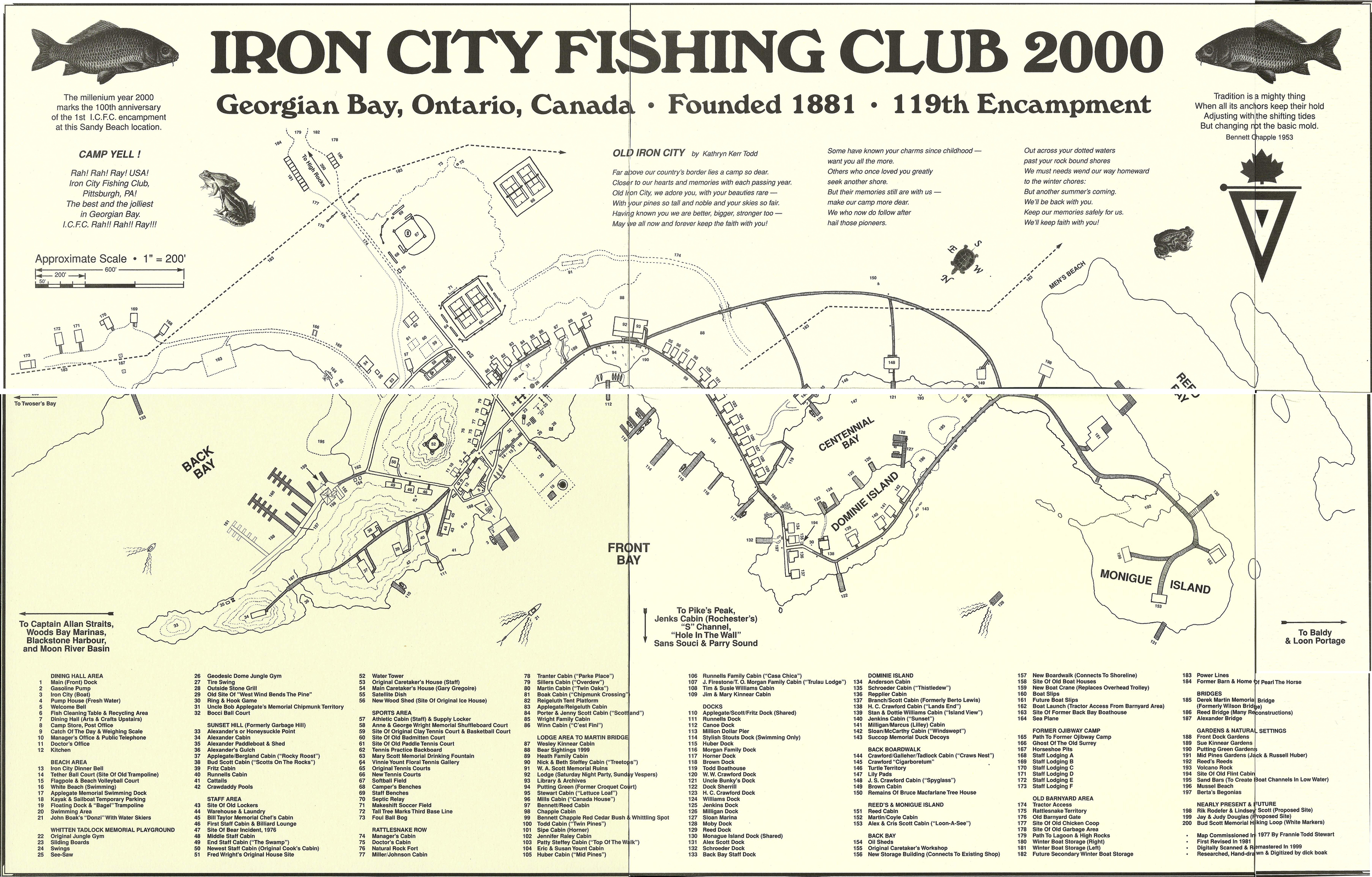 ICFC, as it was in 2000. A few cabins have been added, two of which fall outside the range of this map.
