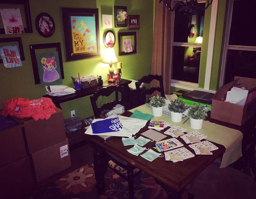 WOM shirts and gifts taking over our kitchen!