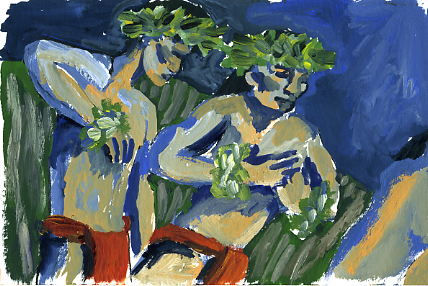 """Gouache inspirational sketch from """"Rolling Down Like Pele"""""""