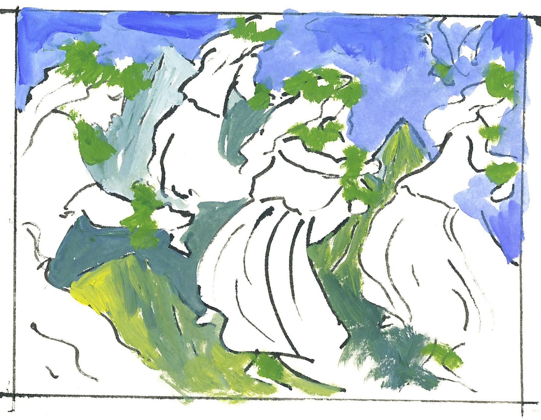 "sketch from film ""Rolling Down Like Pele"""