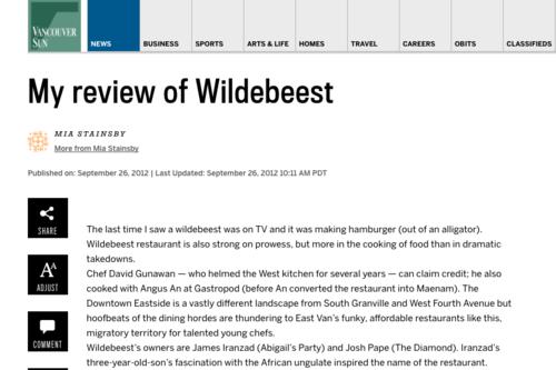 Wildebeest - Press