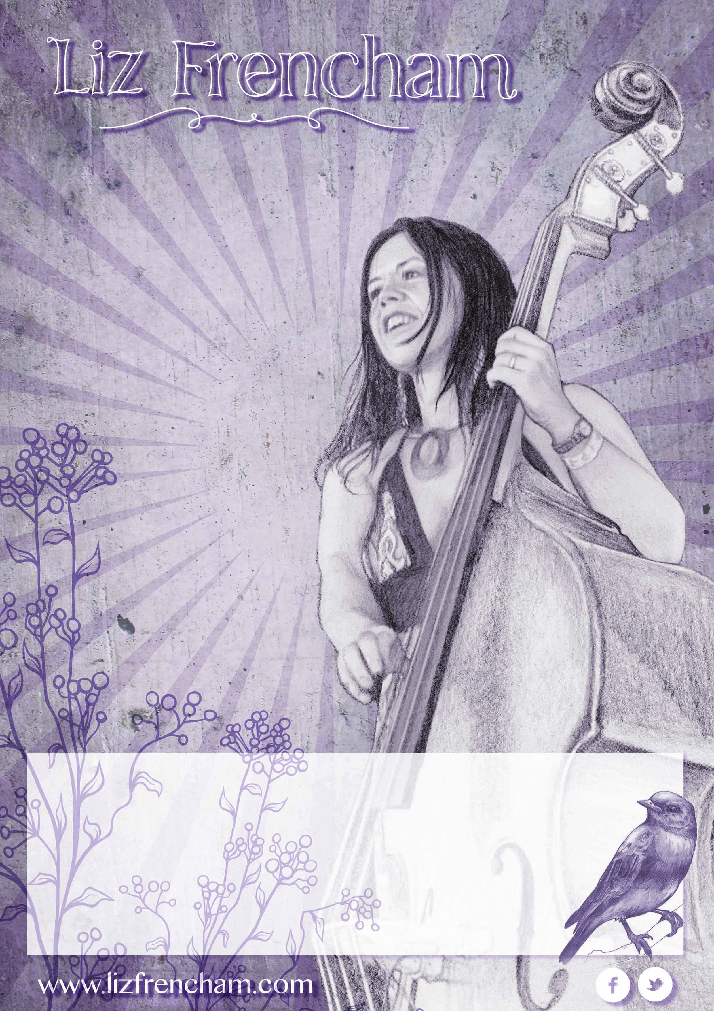 Liz Purple Sketch Poster A4