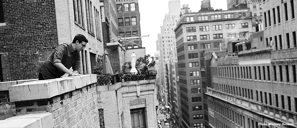 On the studio balcony.