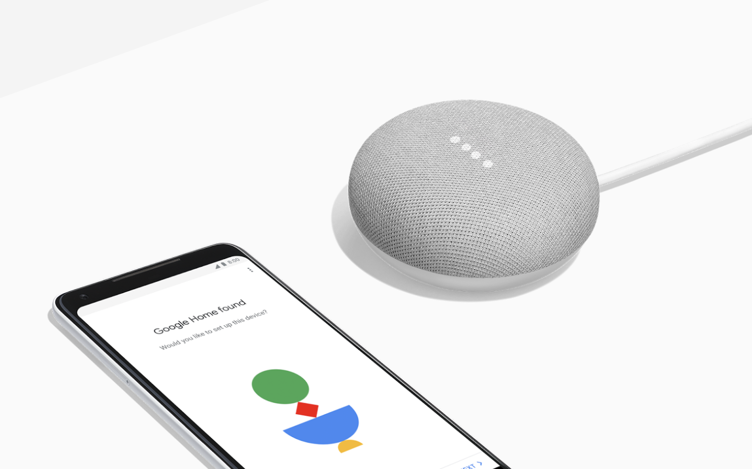 Google Home Mini's setup—simple and beautiful.