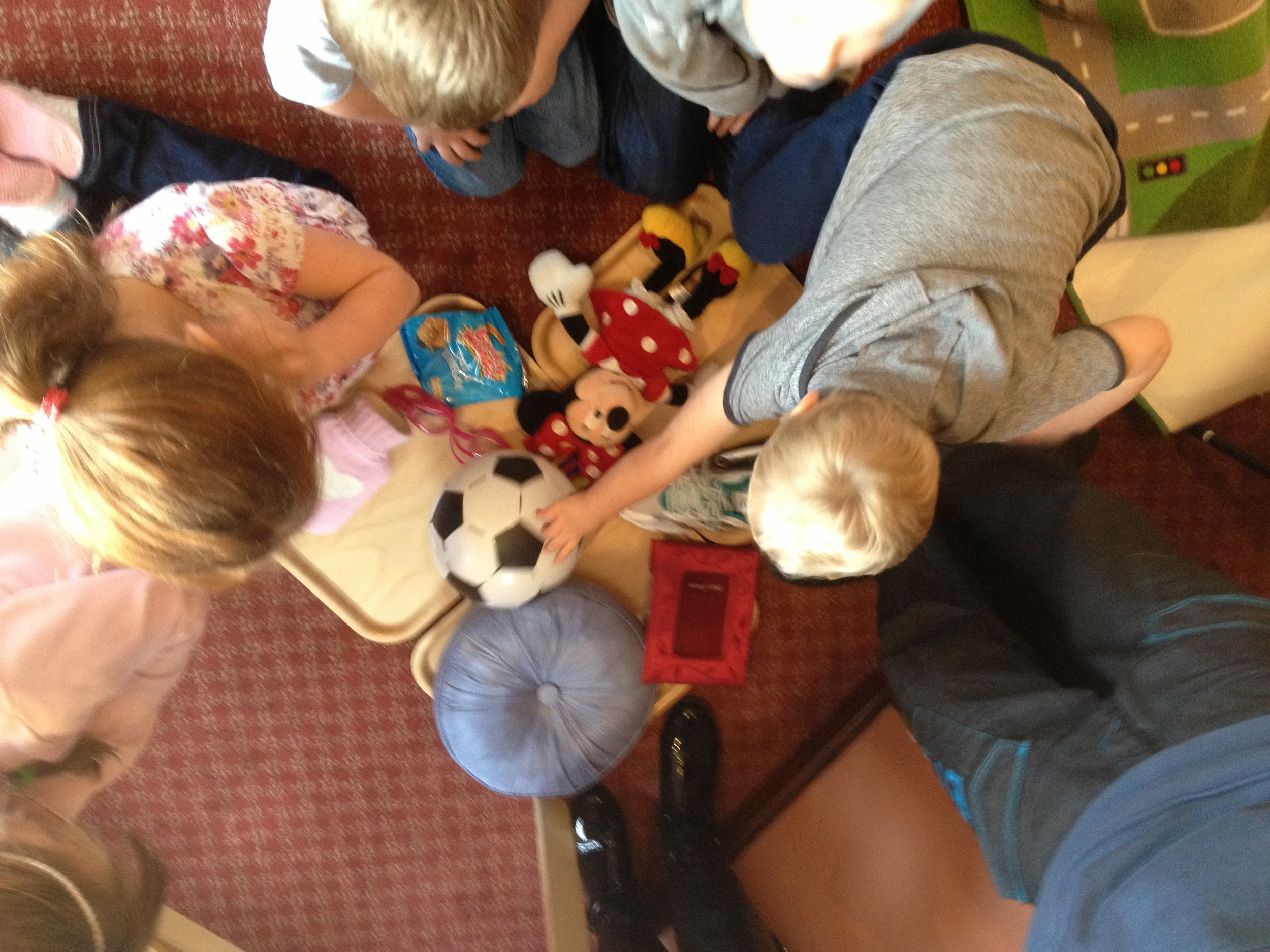 Children playing the memory game, trying hard to remember what was missing!