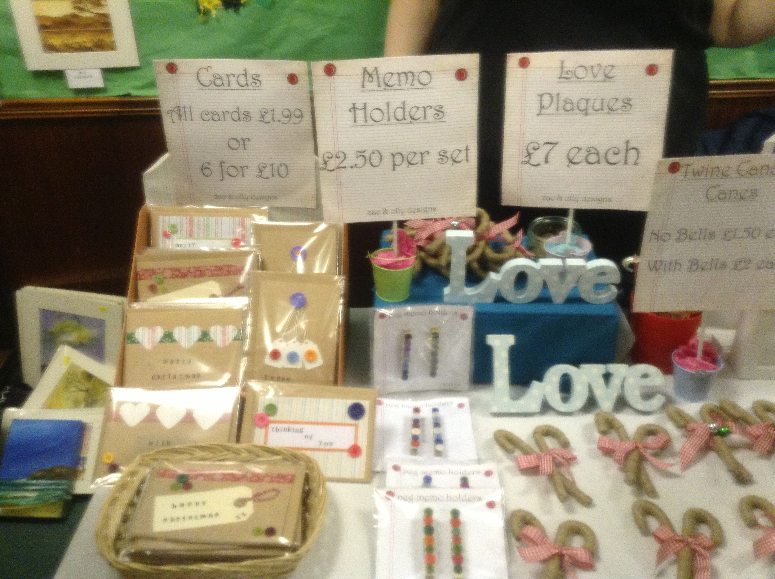 One of our cards and crafts stalls.