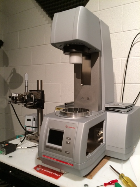 Anton Paar MCR 302 rheometer with laser assisted PIV