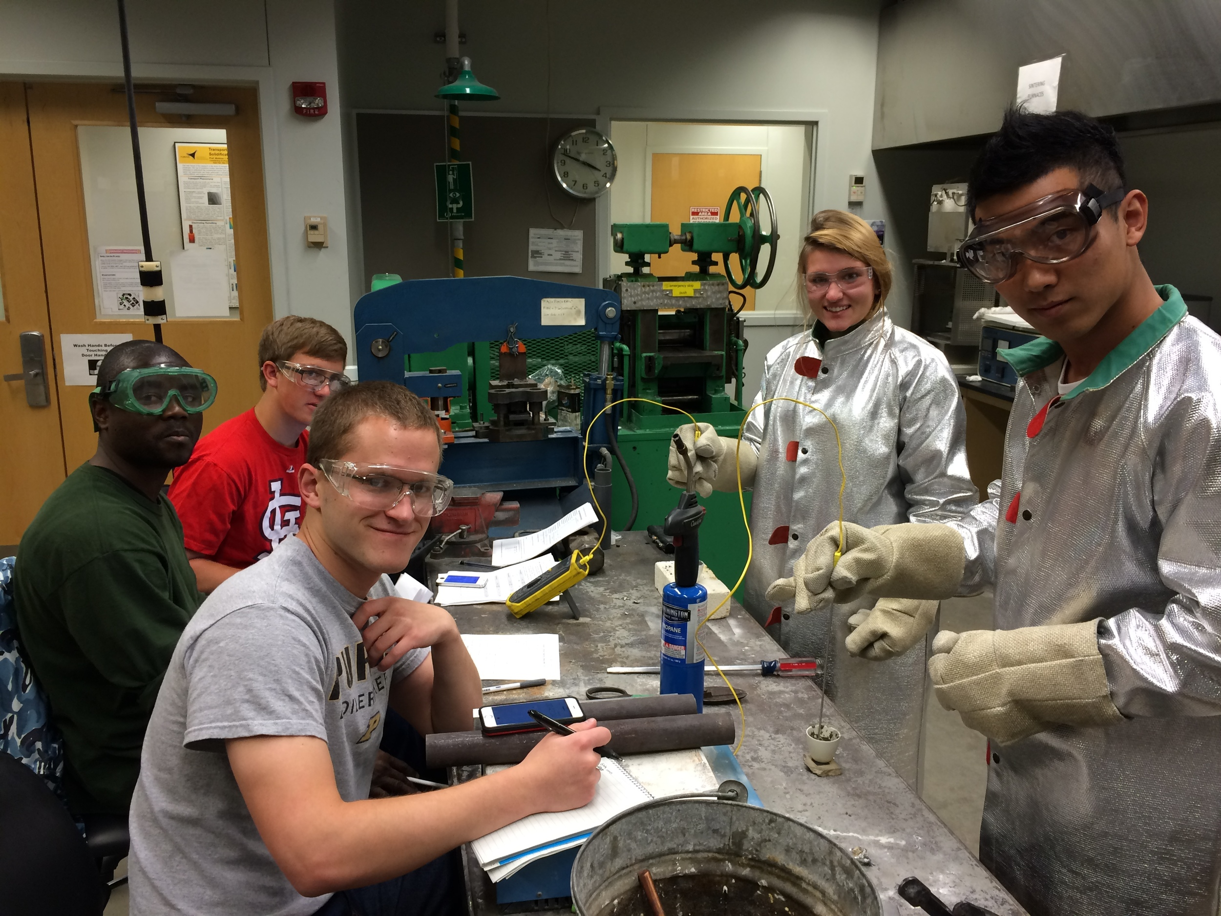 Happy sophomores in 235 thermal lab
