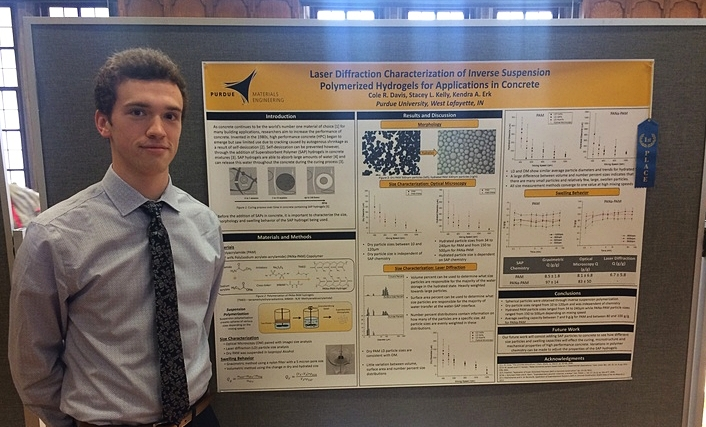Cole takes First Place in the Engineering Division of the Purdue Undergraduate Research Poster Symposium (April 2017).