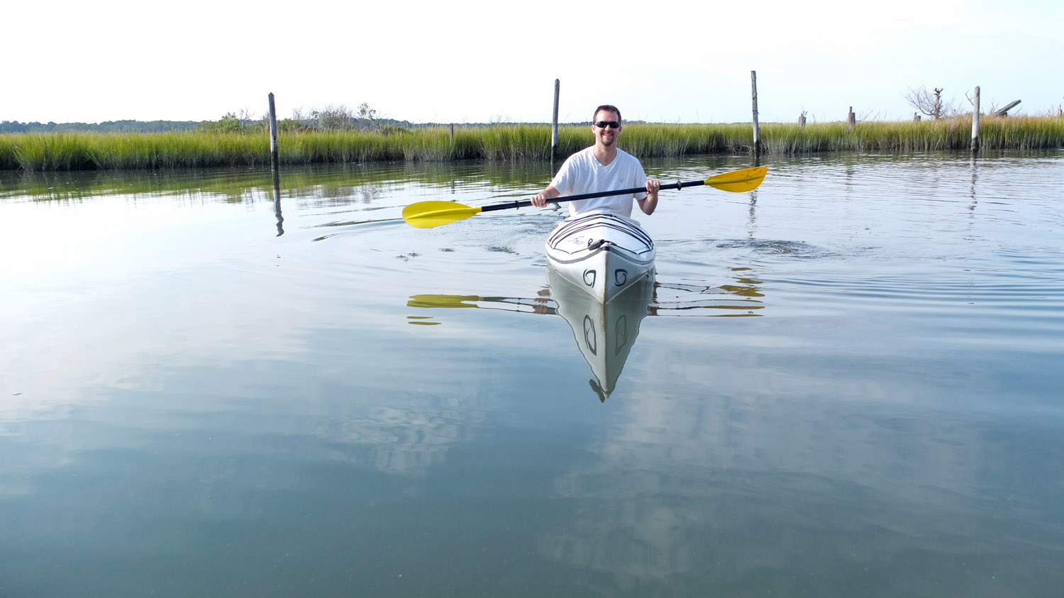 K im took this photo of me just before I paddled out into the marsh.