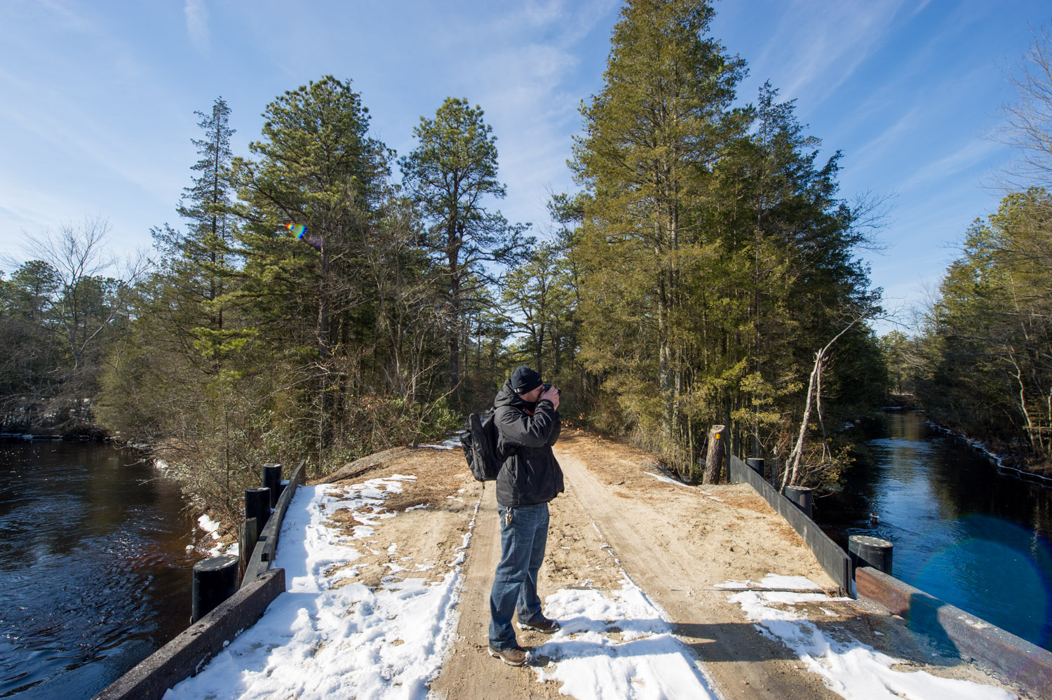 Richie taking a photo of the Mullica River.