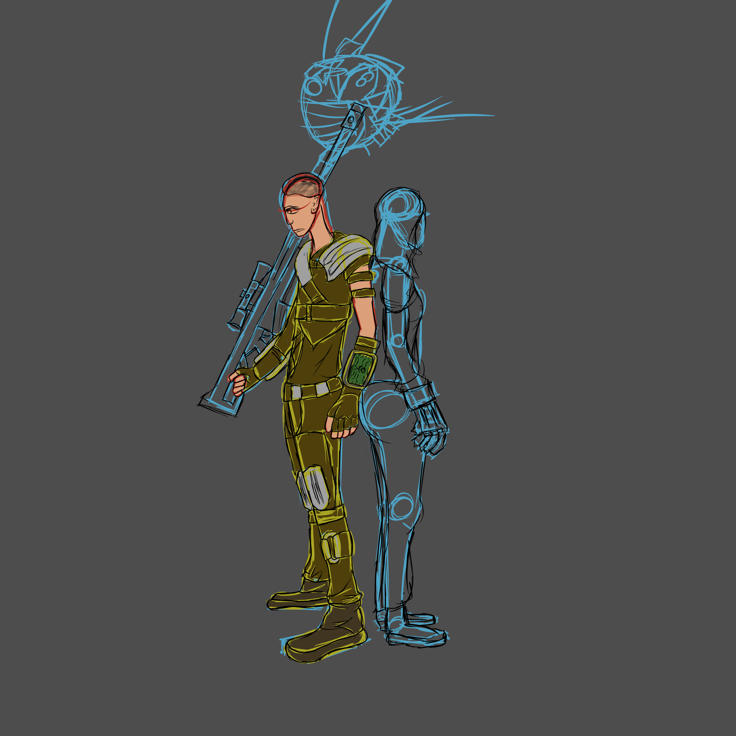 My Fallout New Vegas character, Veronica and ED-E. I will probably never finish this.