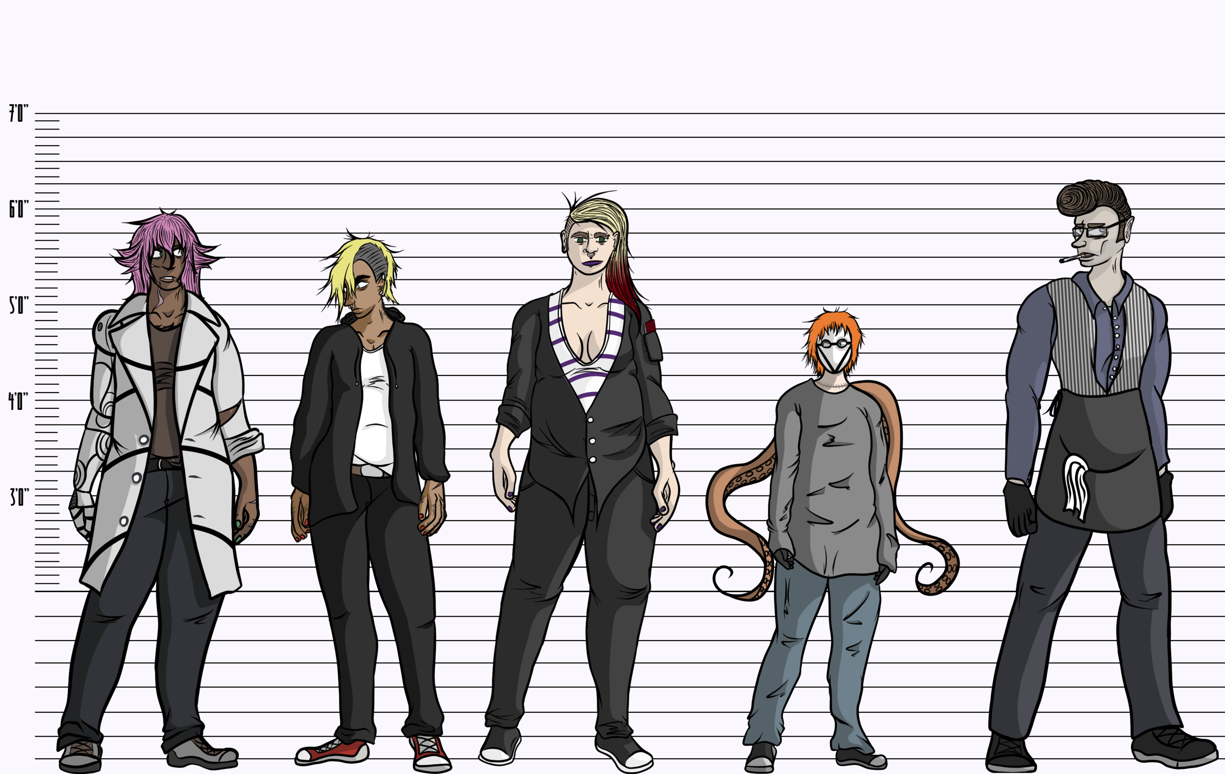 For the hell of it, here's all their heights compared to each other.