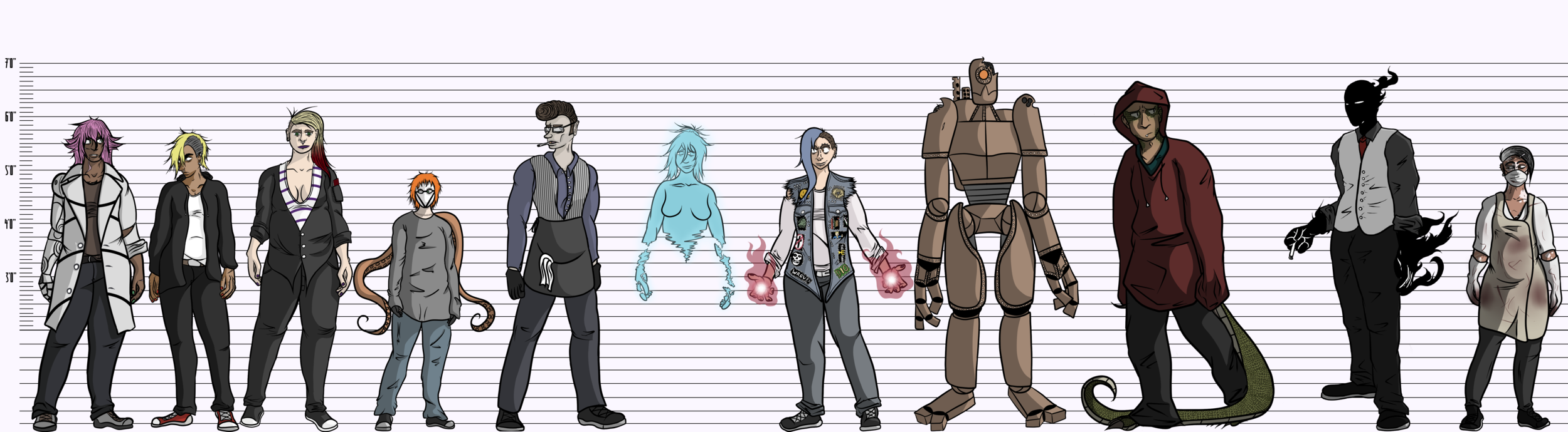 A quick and not perfectly accurate height chart for the 11 of them.