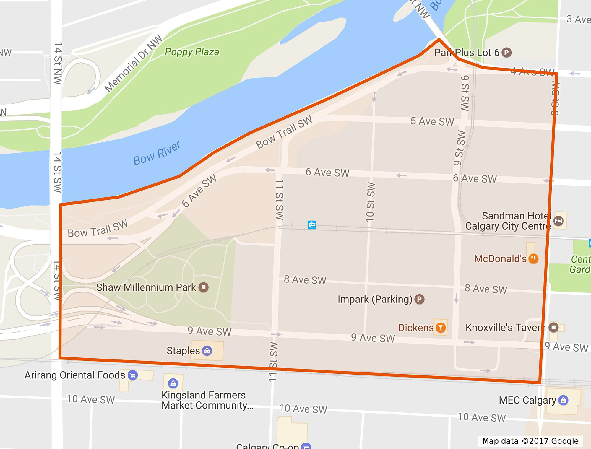 Downtown West End area - click for larger map.