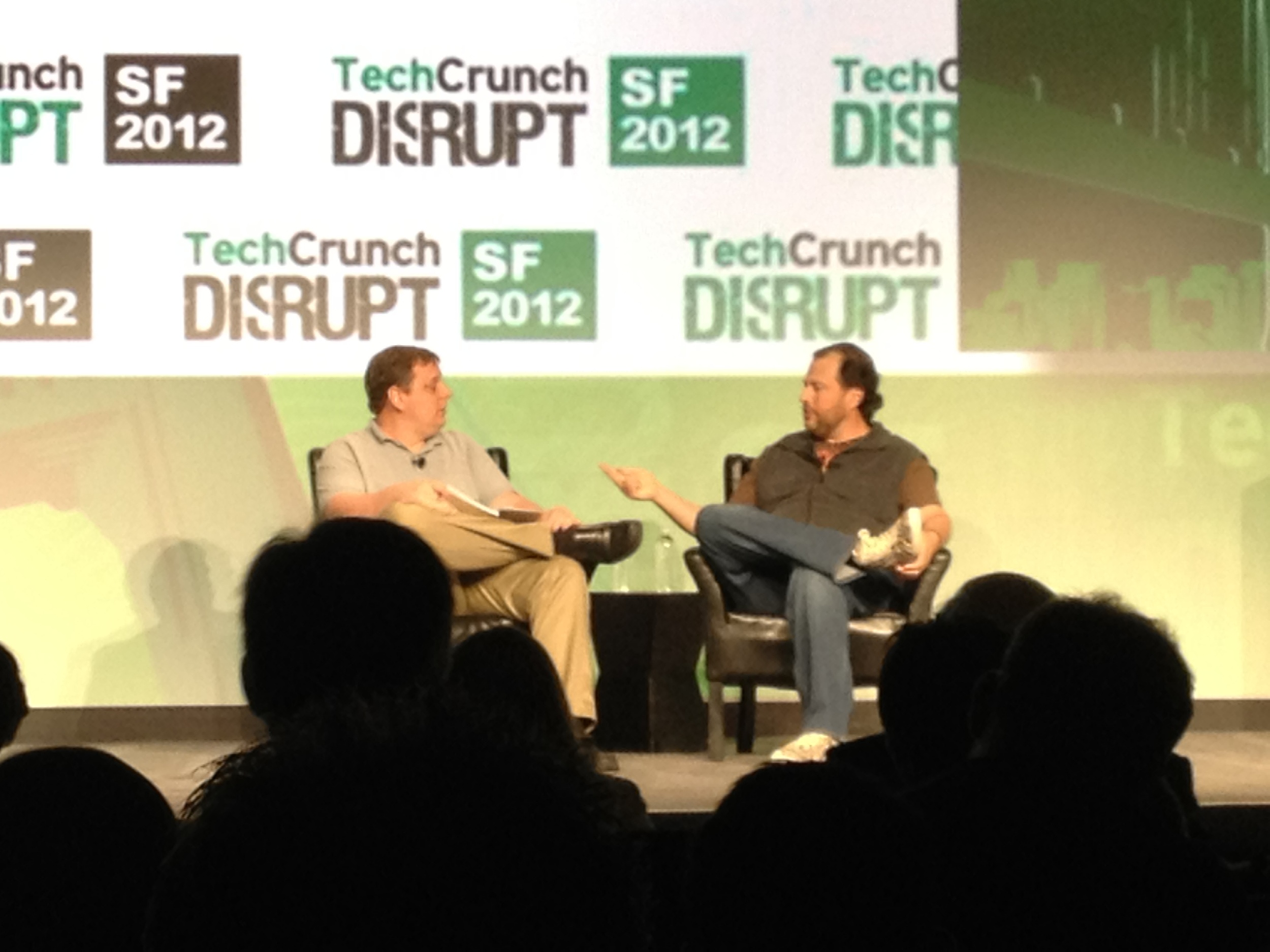 Michael Arrington (TechCrunch founder) interviewing Marc Benioff (Salesforce.com)