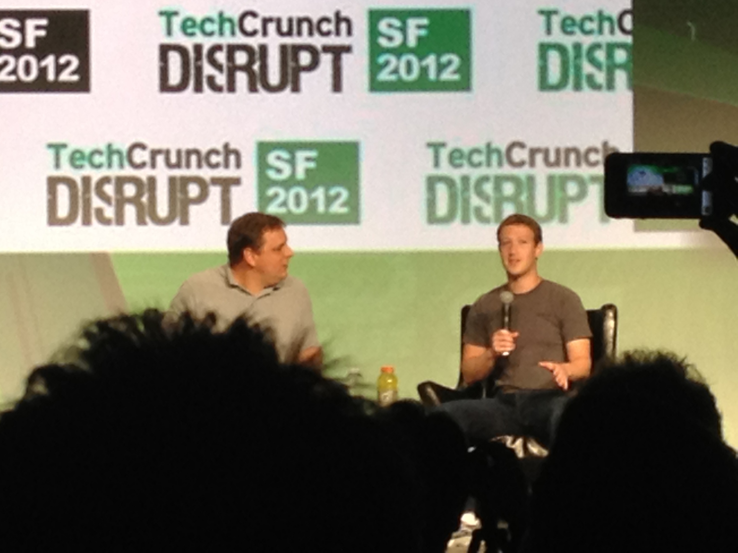 Michael Arrington with Facebook founder and ceo, Mark Zuckerberg.