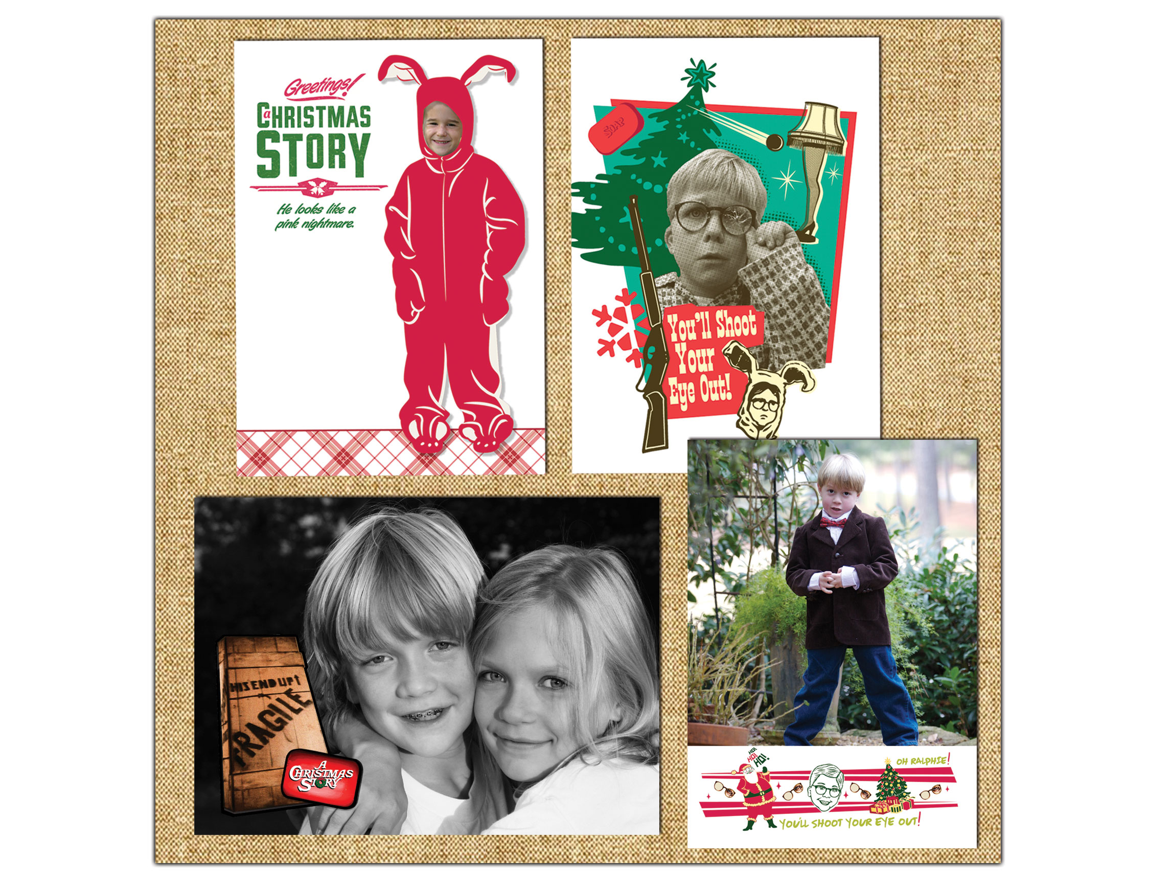 Clockwise from top left: Pink Nightmare Holiday Photo Card, Shoot Eye Out Holiday Photo Card, Oh Ralphie Holiday Photo Card, and FraGeeLay Holiday Photo Card. Now available for purchase at  PaperStyle.com