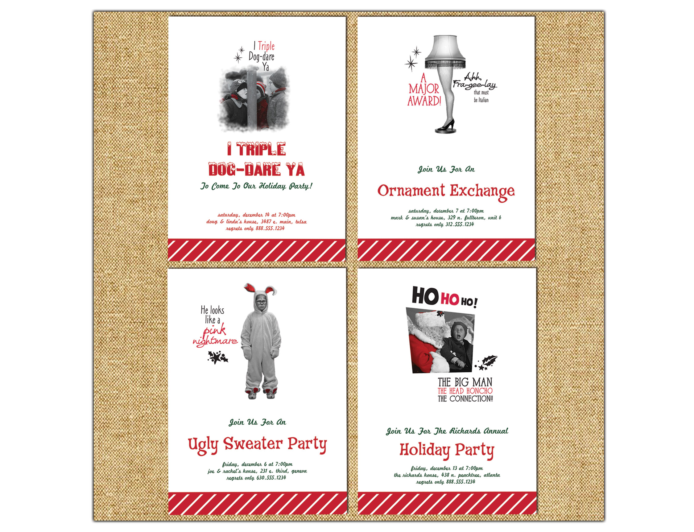 Clockwise from top left: Triple Dog Dare Holiday Party Invitation, Leg Lamp Ornament Holiday Party Invitation, Pink Nightmare Holiday Party Invitation and Head Honcho Holiday Party Invitation. Now available for purchase at  PaperStyle.com