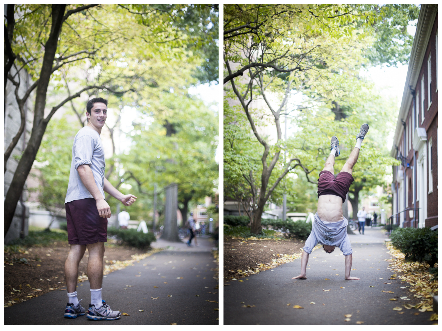 """""""Hey, you want to see a trick?"""" said Matthew Miller '18 at Harvard Yard. By Ann Wang"""