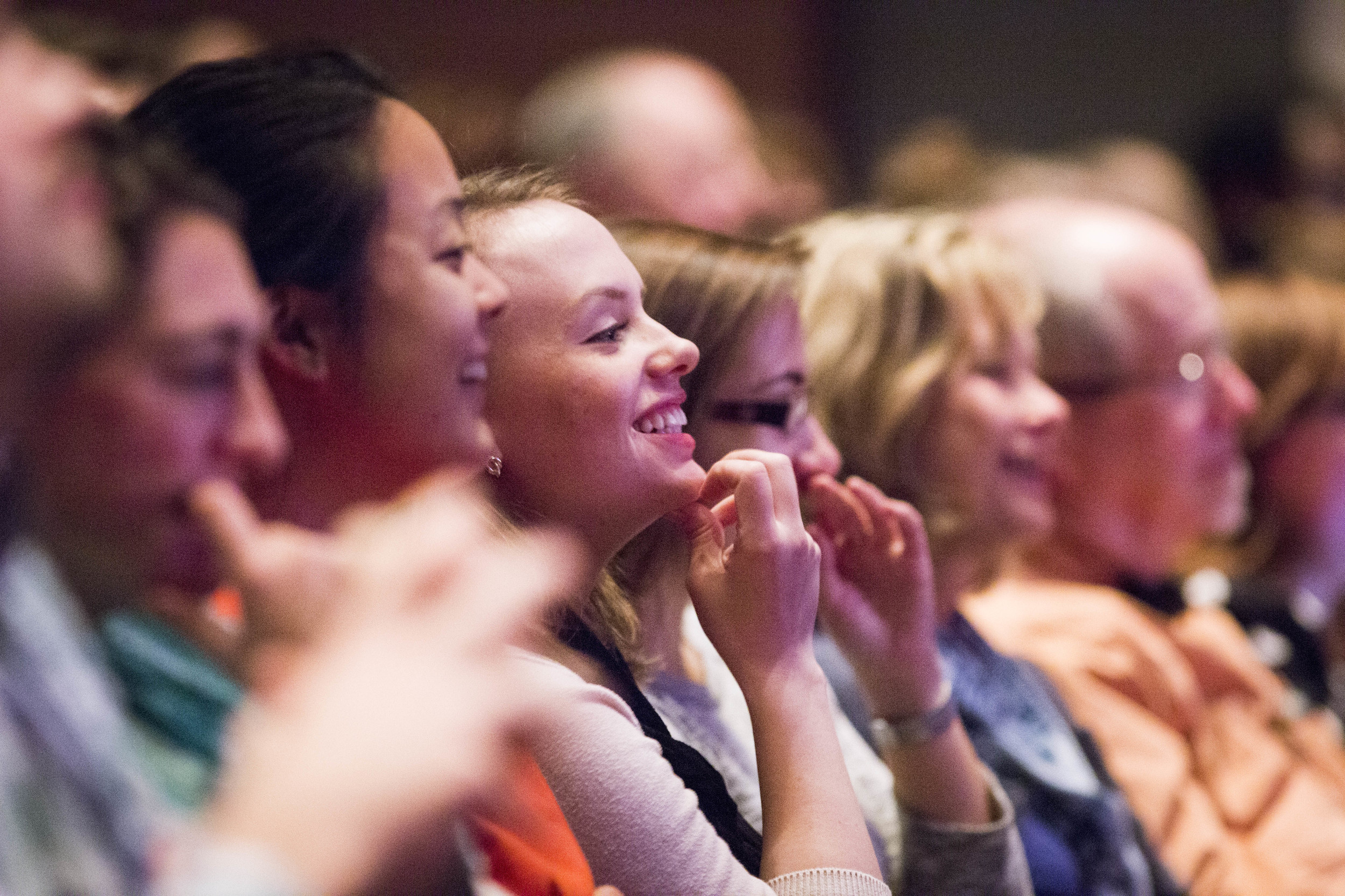 Audience laugh at David Carrr and Jill Abramson's jokes. By Ann Wang
