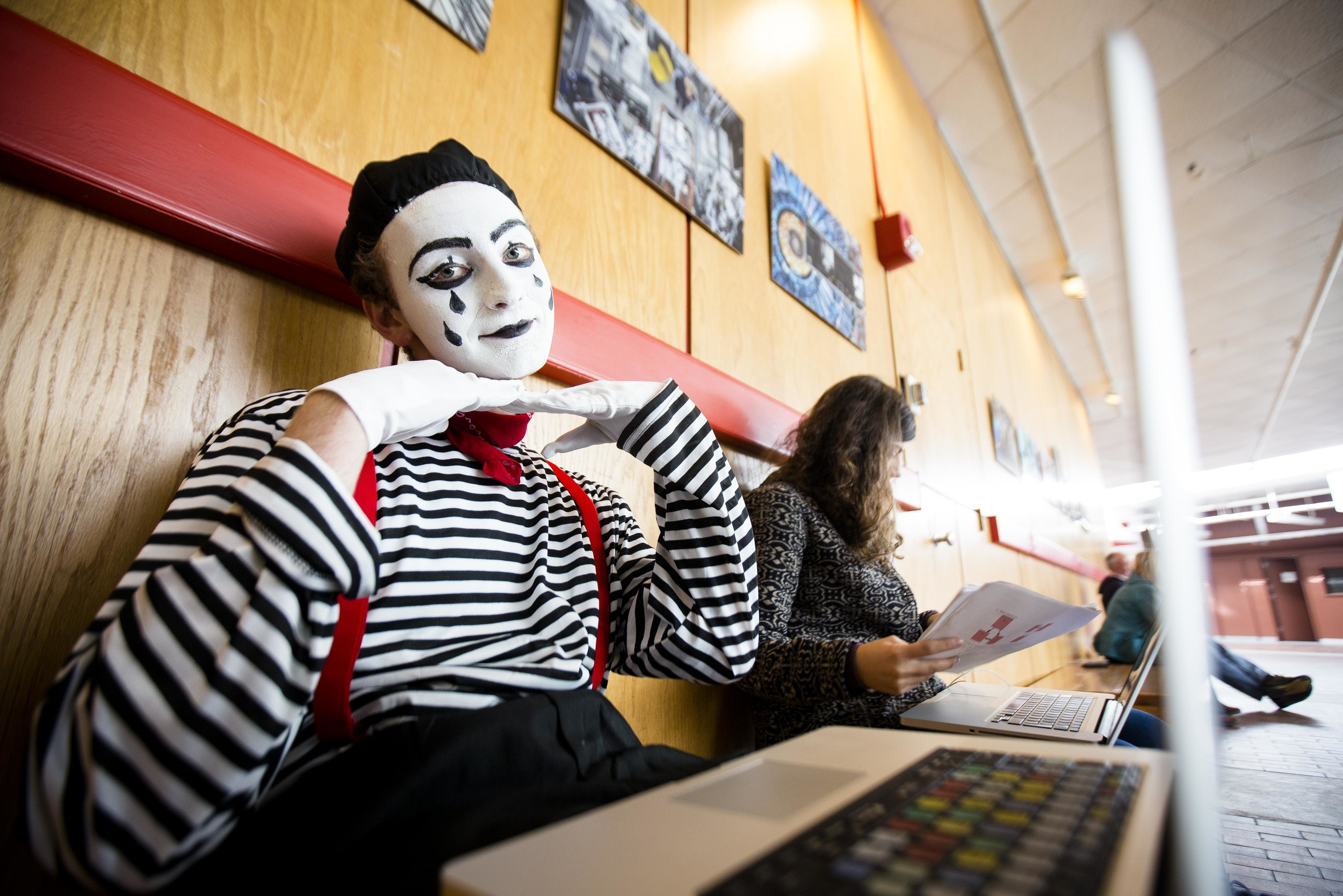 """Mac Schumer, '17. """"Halloween is my favorite festival. Im a mime this year and it took me 2 hours to do the make up. """" said Mac. Photo By Ann Wang"""