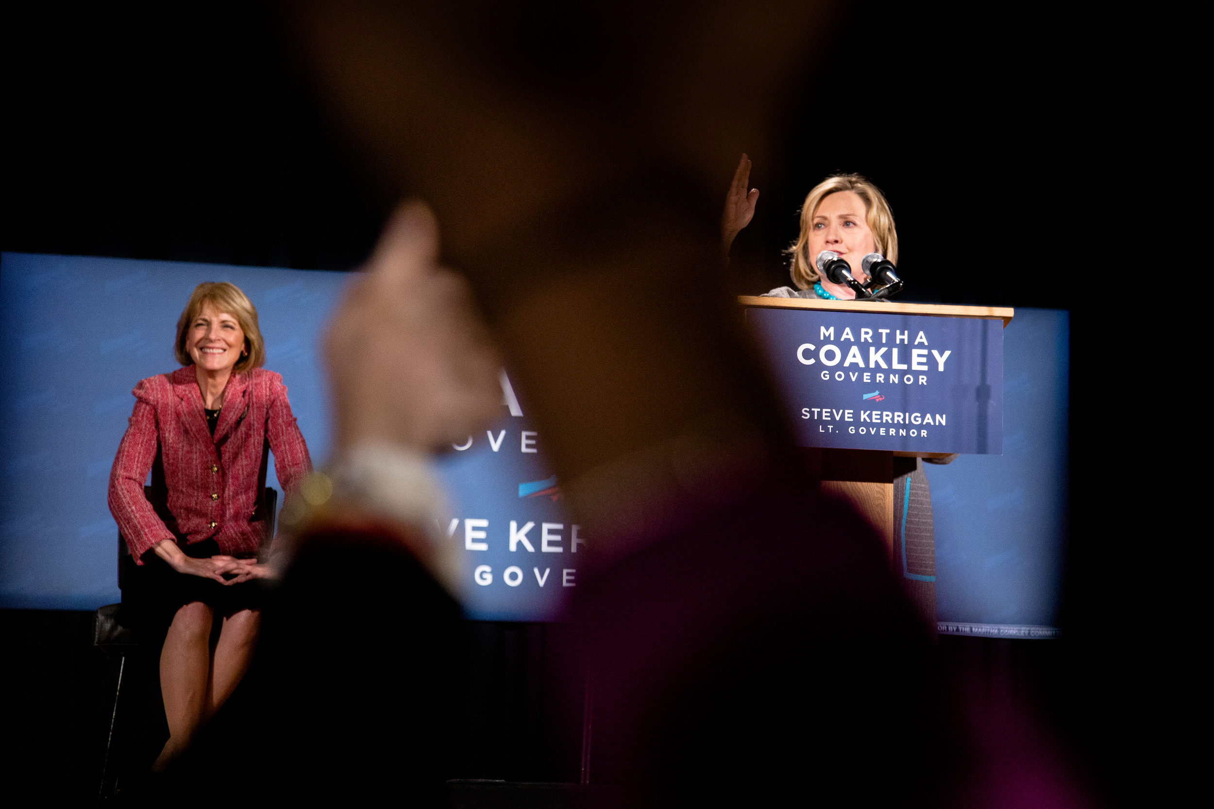 Hillary Clinton (R), with Martha Coakley,(L) a Democrat candidate for governor of Massachusetts. Photo by Ann Wang