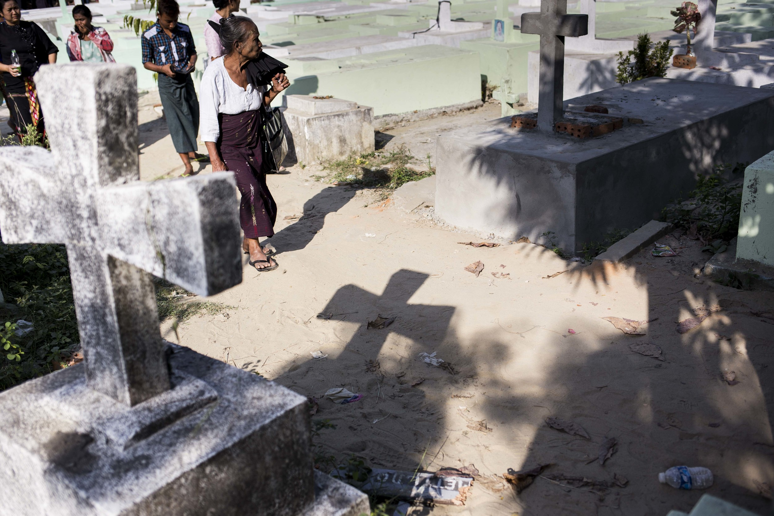 A christan cememter in Yayway cemetery in the outsckirt of Yangon, Myanmar. Photo by Ann Wang
