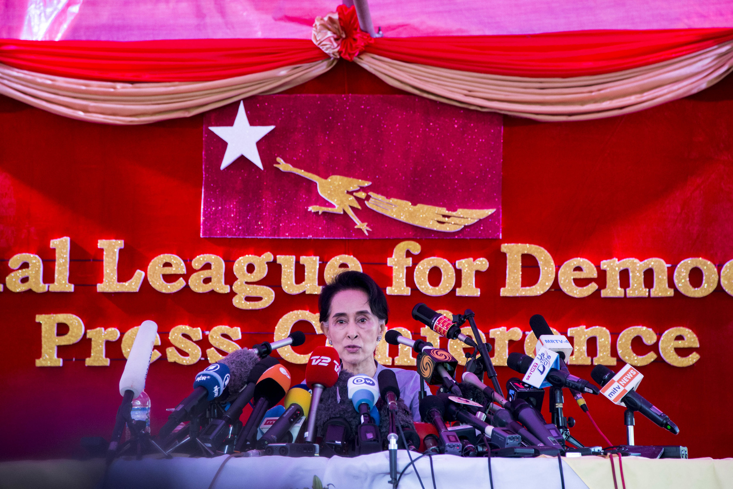 Myanmar opposition party NLD leader Aung San Suu Kyi speaks to the media about the general election at a press conference at her resident in Yangon on November 5, 2015. Photo by Ann Wang