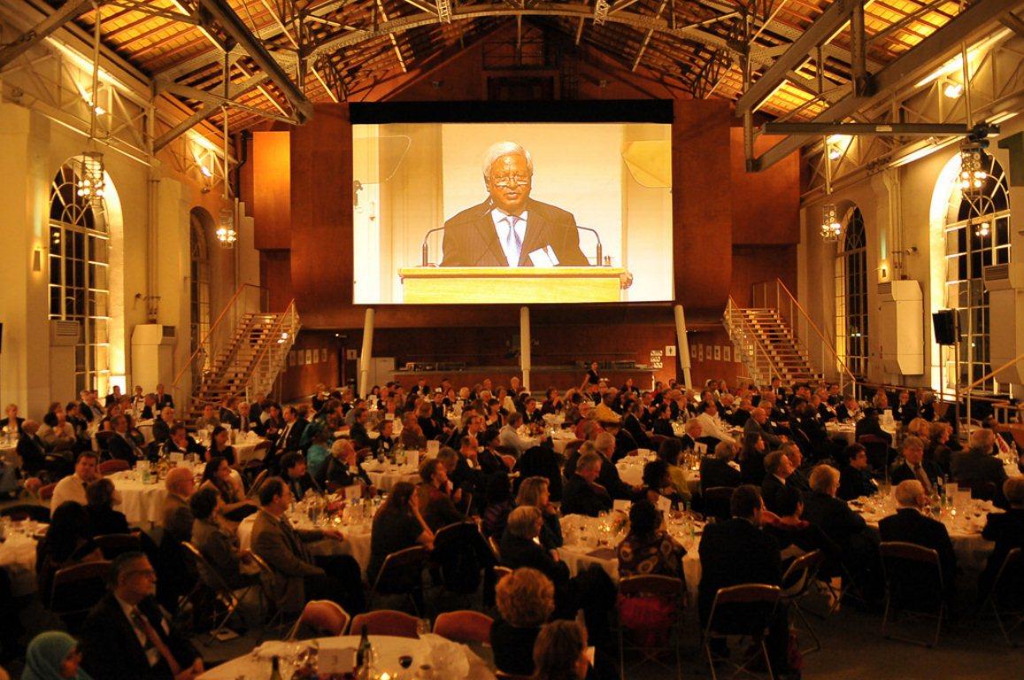 BRAC's Fazle Abed accepts the Hilton Prize at Hilton Humanitarian Prize Ceremony, le BFM, Geneva, Switzerland