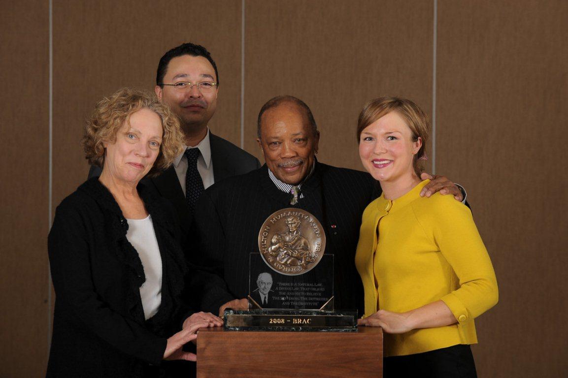 Hilton Prize team with Quincy Jones, Geneva, Switzerland 2008