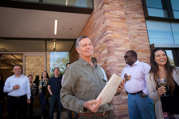Hilton Foundation Chairman Steven M. Hilton receiving a commemorative plaque from staff on the first day in our Agoura Hills offices