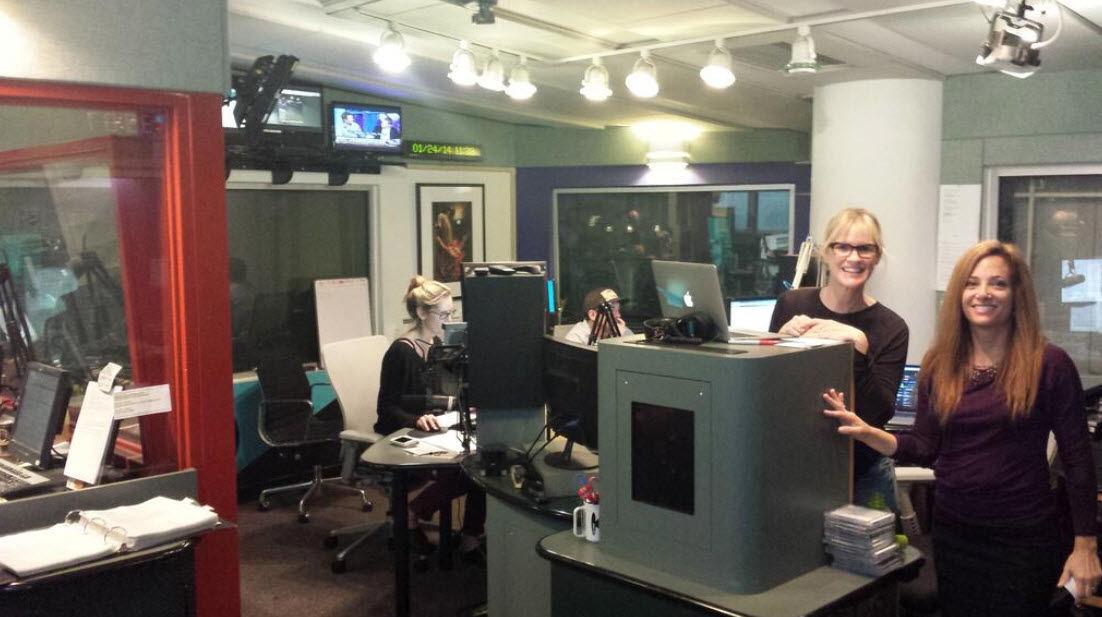 Inside the KCRW studio with DJ Anne Litt (L) and KCRW President, Jennifer Ferro (R)
