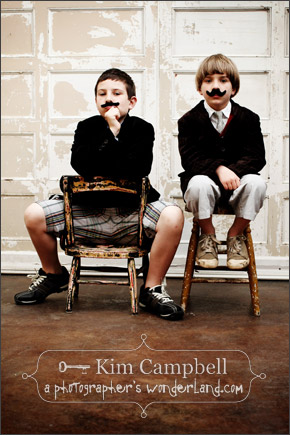 Kim Campbell - El Corazon photography of two boys with moustaches.