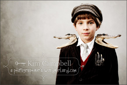Kim Campbell - El Corazon Photography - Portrait of boy with alligator epaulets.