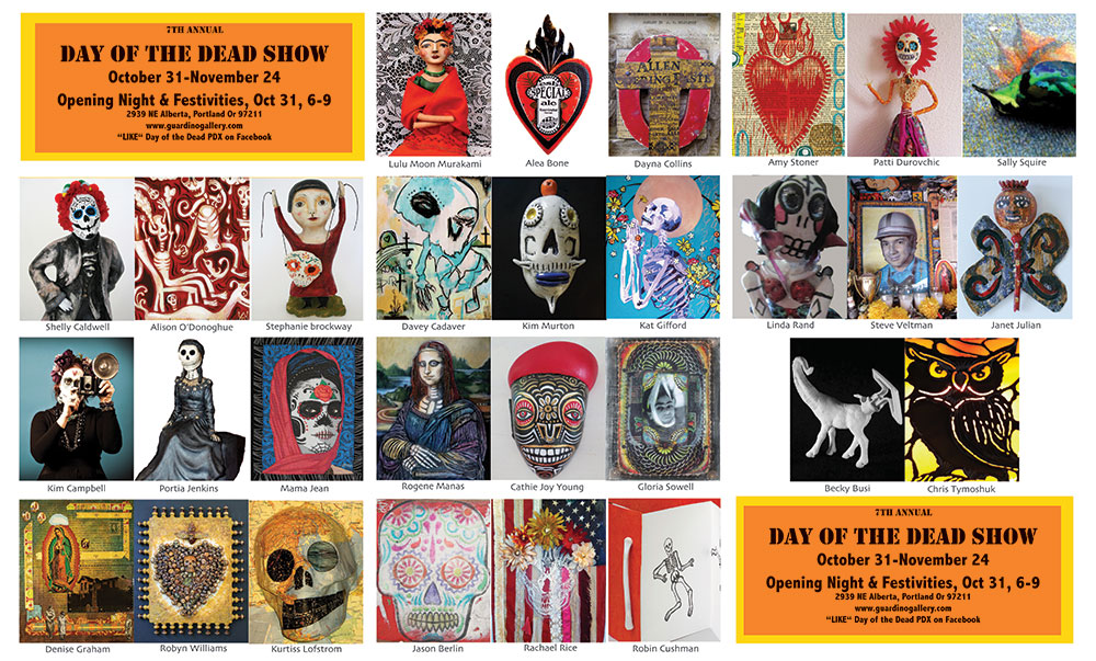 Day of the Dead Show card at Guardino Gallery 2013.