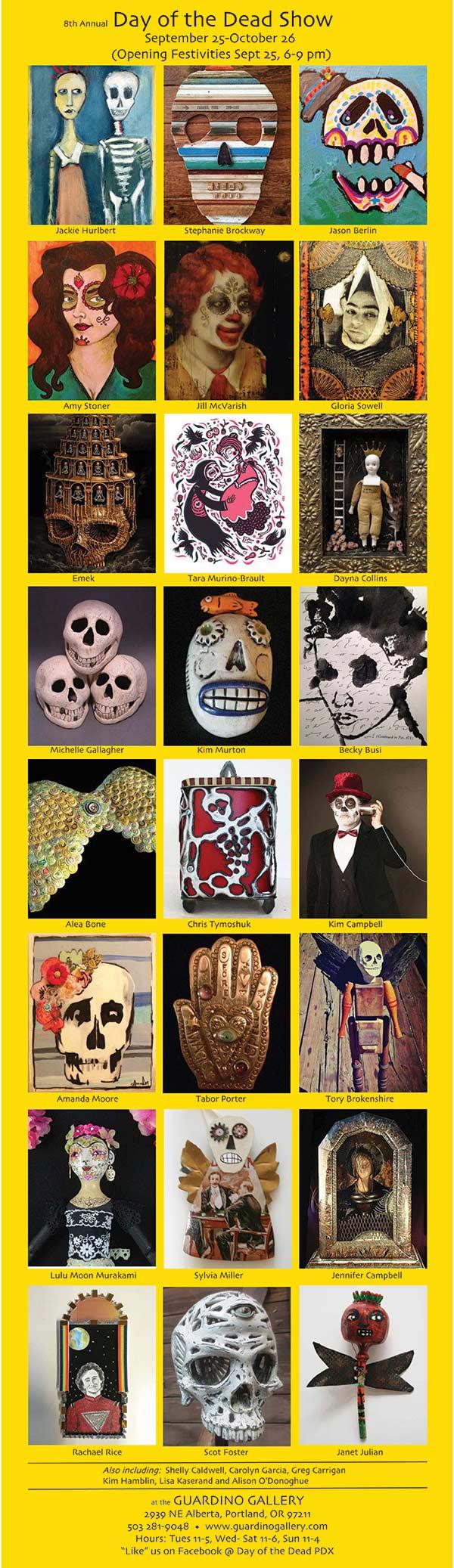 Day of the Dead invite for Guardino Gallery, Portland, OR 2014