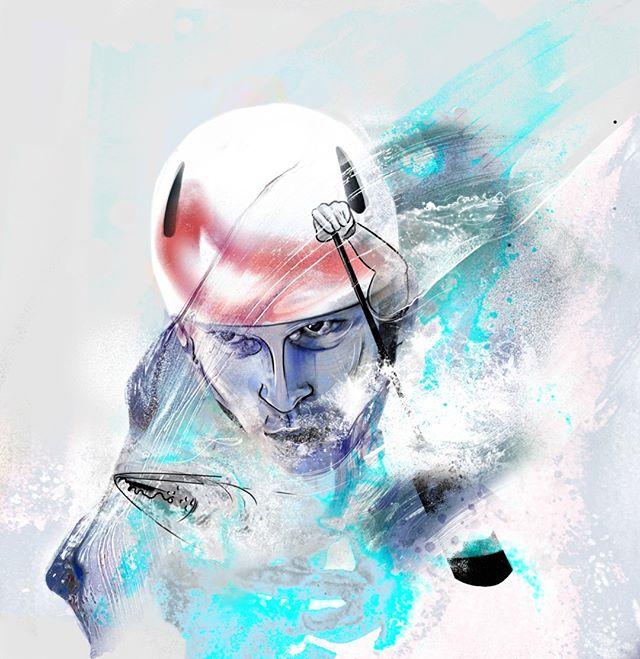 Water Shportsh! ⠀⠀⠀⠀⠀⠀⠀⠀⠀ Matej Benus - Canoe Slalom⠀⠀⠀⠀⠀⠀⠀⠀⠀ #illustration #art #draw #drawing #paint #sportsillustration #canoe #canoeslalom
