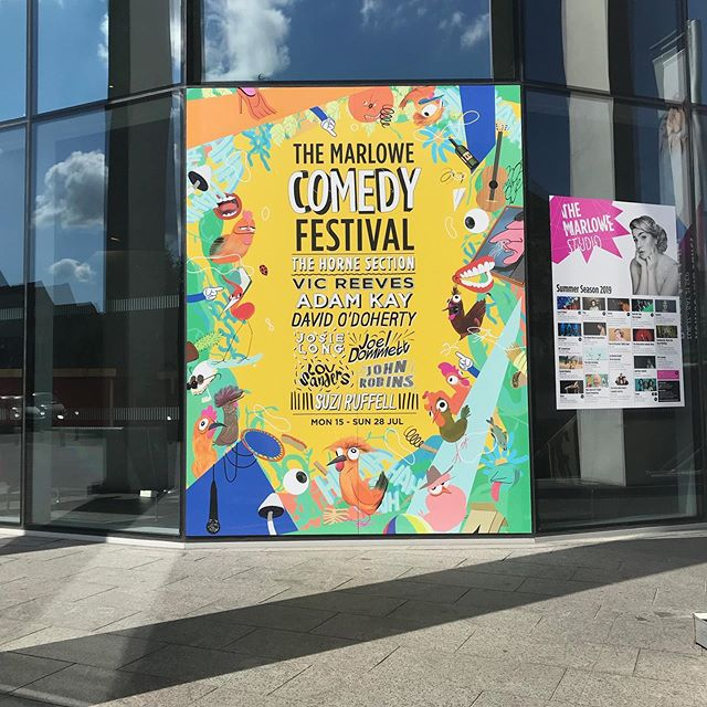 Monday! And the @marlowetheatre Comedy Fest has kicked off. It's been fun for me to spot the branding that we made together last year popping up all over the place. #illustration #art #draw #drawing #paint  @hornesection @amateuradam @phlaimeaux @jamesmoir12 @josielong @joeldommett @louliesanders @nomadic_revery  #photoshop #adobephotoshopcc #illustrationcampaign #brandlanguage #visuallanguage #marlowe #theatre #marlowetheatre #canterbury