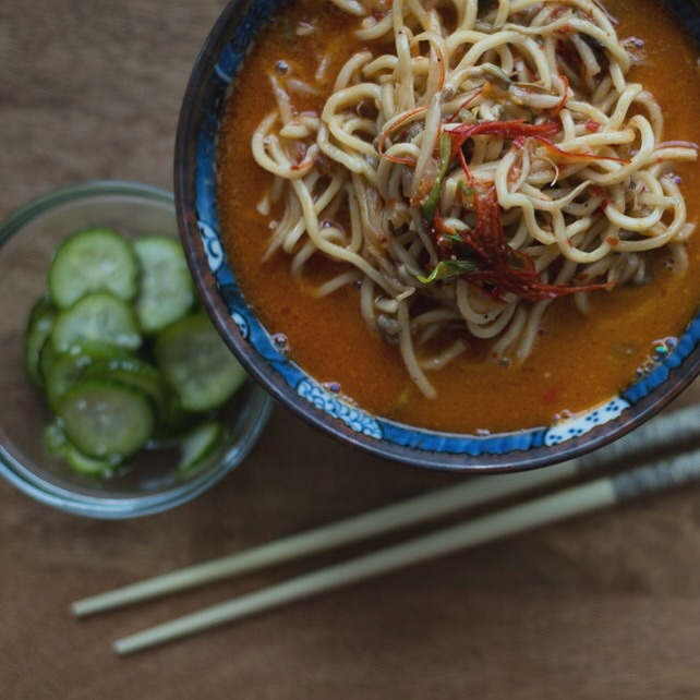 Takeya ramen is the new #1. On my quest to find the best spicy broth, this wins hands down. For the first time, didn't need to add any extra chili oil. Hot, but not too spicy to lose its flavor. The miso is a nice balance. The pickled cucumbers are homemade- slice Persian cucumbers into thin coins, rice vinegar, sugar, red pepper flakes.http://www.ramentakeya.com