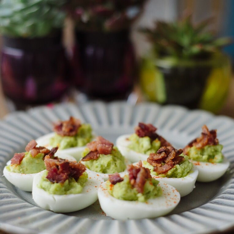 I love deviled eggs! Used only part of the yolk and traded it for avocado. Mixed I salt, pepper, cayenne, and a little Dijon. Topped with hearty bacon bits.
