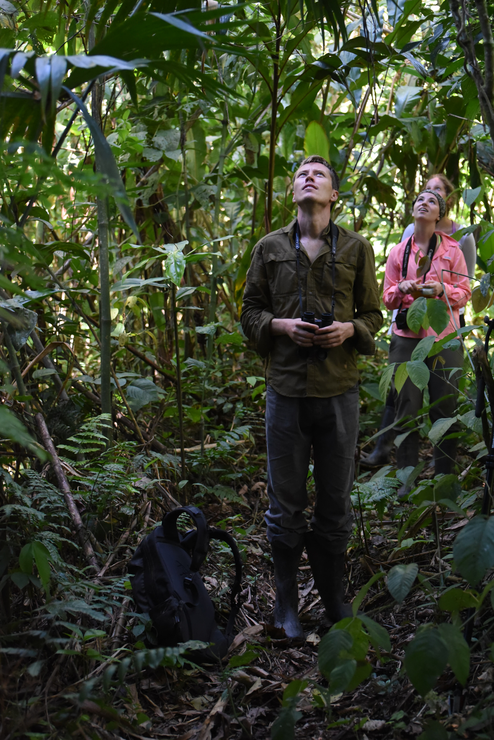 Will Helenbrook and Megan Quirk use callback technology to study responses from nesting night monkey groups at Villa Carmen Biological Station, Peru.