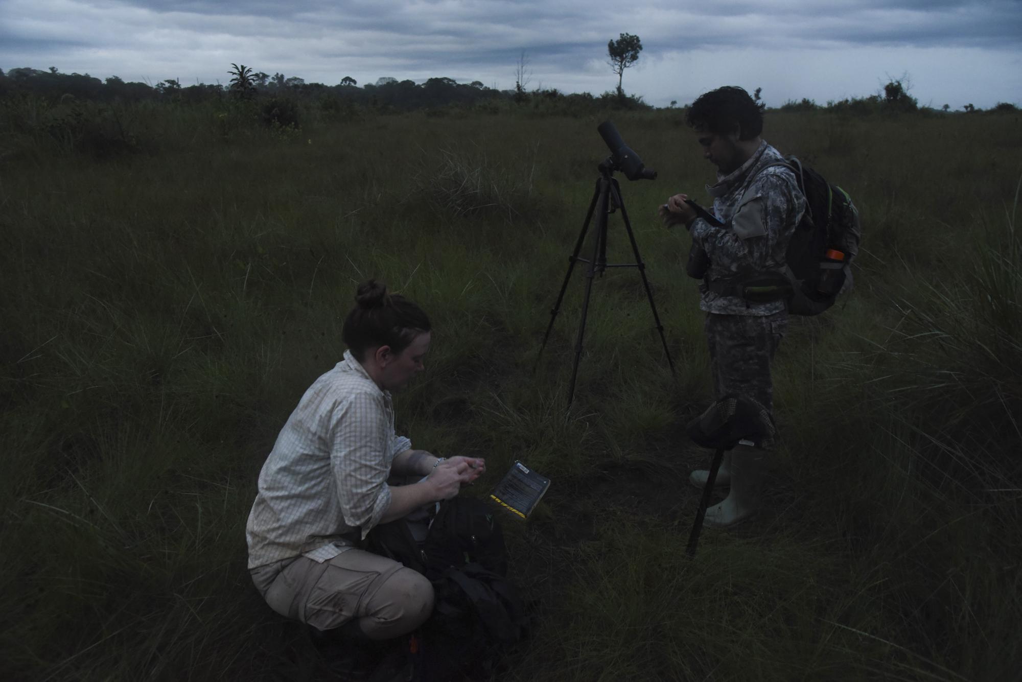English-Botswana artist Maisie McNecie and Yohamir prepare for begin the bird count as dawn breaks over the Pampas de Heath grassland.