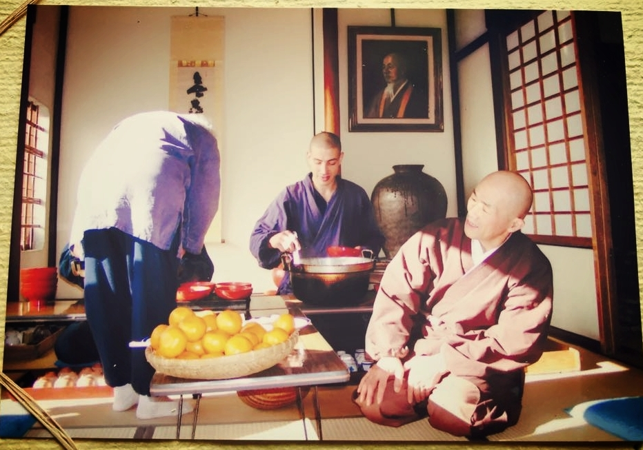 At Sogenji serving zenzai with Shodo Harada roshi, c. 2005