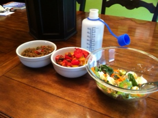 Left to right: lentils cooked with onions and bell pepper, spaghetti squash topped with cooked mushrooms and tomatoes, salad (romaine, spinach, alfalfa sprouts, cucumber, bell pepper, carrots, celery, pumpkin seeds, sunflower seeds
