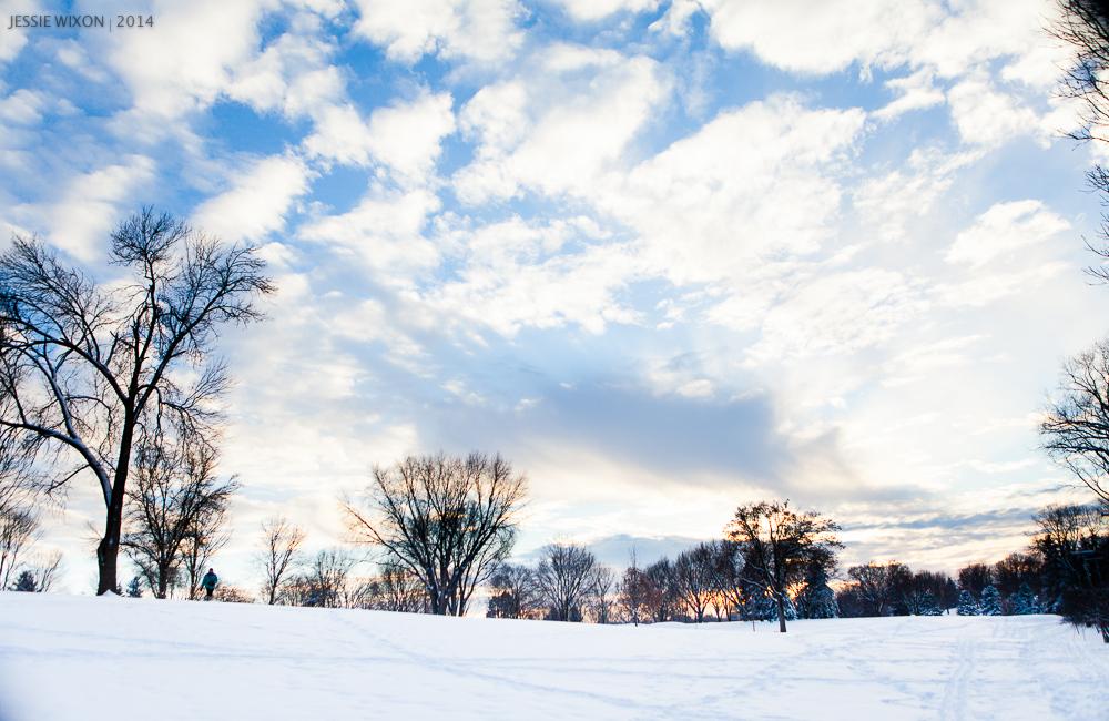 Madison, Wisconsin winter sunset.