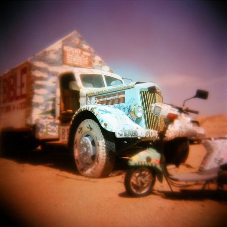 Salvation Mountain Truck and Scooter