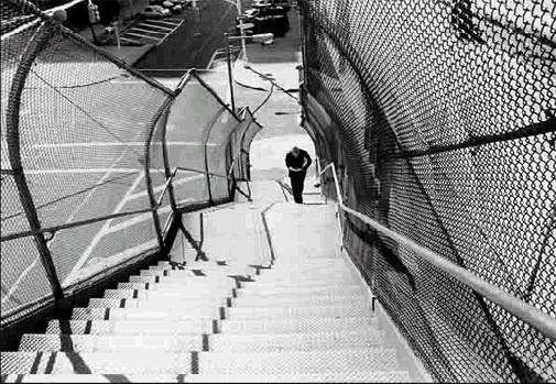 Man Climbing Stairs to the Williamsburg Bridge