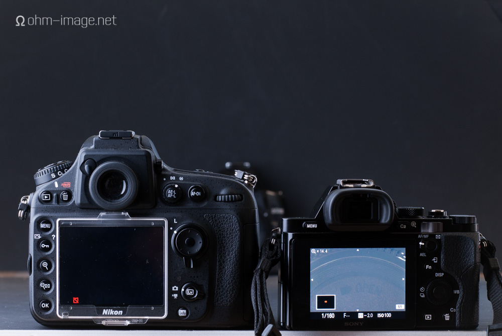 Both lenses stopped down to f/8. Exposure settings same as earlier.  left: D800 live view with Nikon 50/2 Ai @f/8; right: a7r live view with Summicron 50/2 @f/8